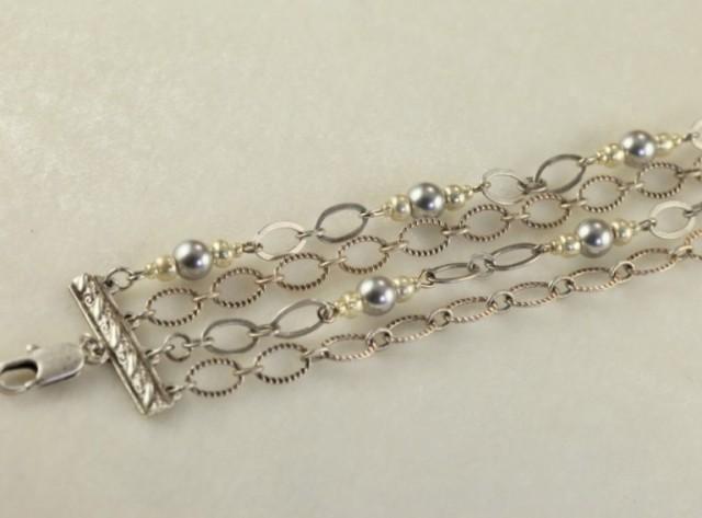 Art Deco Multi Strand Silver Bracelet_2