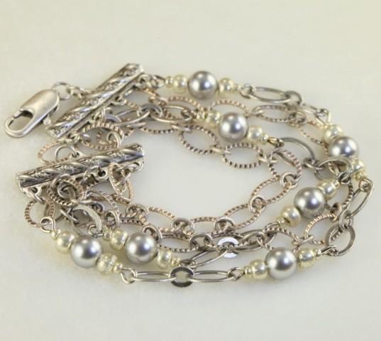 Art Deco Multi Strand Silver Bracelet